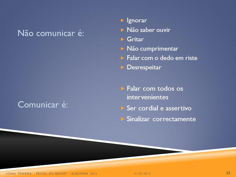 FONTES Pontos de ênfase (1ª parte) época 2011/2012 – CA da FPB A Comunicação Arbitral, Outubro/2002 – Miguel Betancort Comunicação entre Treinadores e Árbitros, Dezembro/2006 – Carlos Santos A Comunicação verbal e gestual, Fevereiro/2012 – António Coelho Guião Árbitro LCB – Grupo de Envolvimento Árbitros LCB 2005/2006 - Alvarinhas, Pimentel, Rodrigues, Santos, Travassos 23 SÓNIA TEIXEIRA - FESTAS DO BASKET - ALBUFEIRA 201231-03-2012