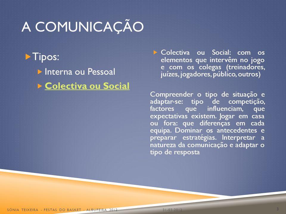 A COMUNICAÇÃO Tipos: Interna ou Pessoal Colectiva ou Social Colectiva ou Social: com os elementos que intervêm no jogo e com os colegas (treinadores,