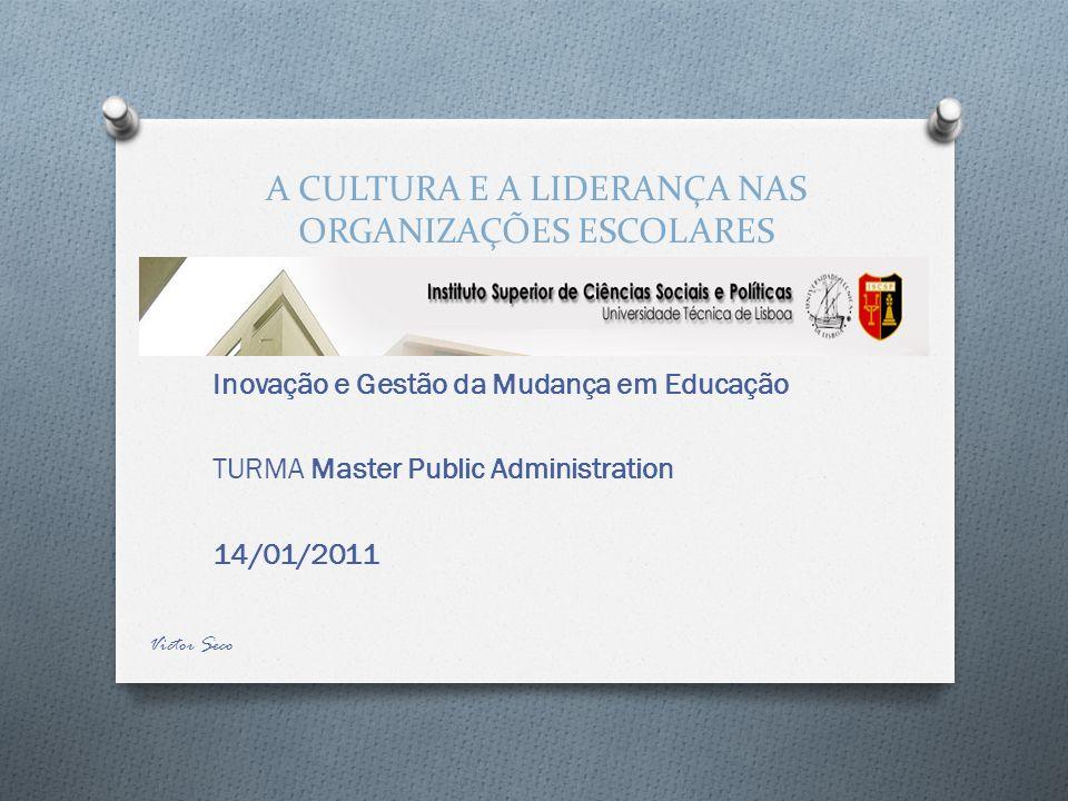 A CULTURA E A LIDERANÇA NAS ORGANIZAÇÕES ESCOLARES Concentração dos profissionais no ensino.