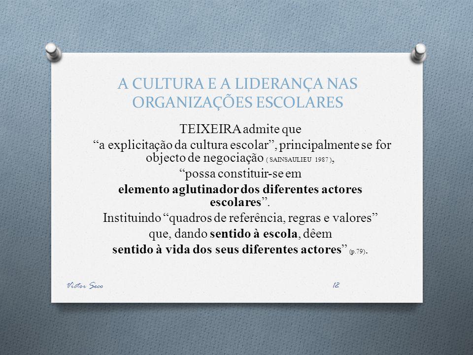 A CULTURA E A LIDERANÇA NAS ORGANIZAÇÕES ESCOLARES TEIXEIRA admite que a explicitação da cultura escolar, principalmente se for objecto de negociação ( SAINSAULIEU 1987 ), possa constituir-se em elemento aglutinador dos diferentes actores escolares.