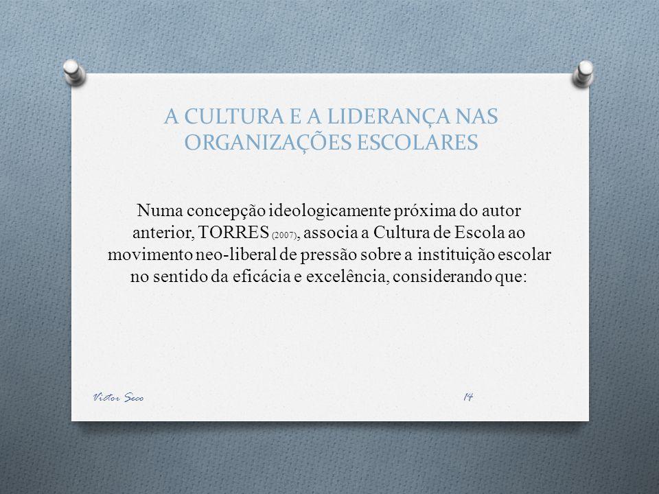 A CULTURA E A LIDERANÇA NAS ORGANIZAÇÕES ESCOLARES Numa concepção ideologicamente próxima do autor anterior, TORRES (2007), associa a Cultura de Escol