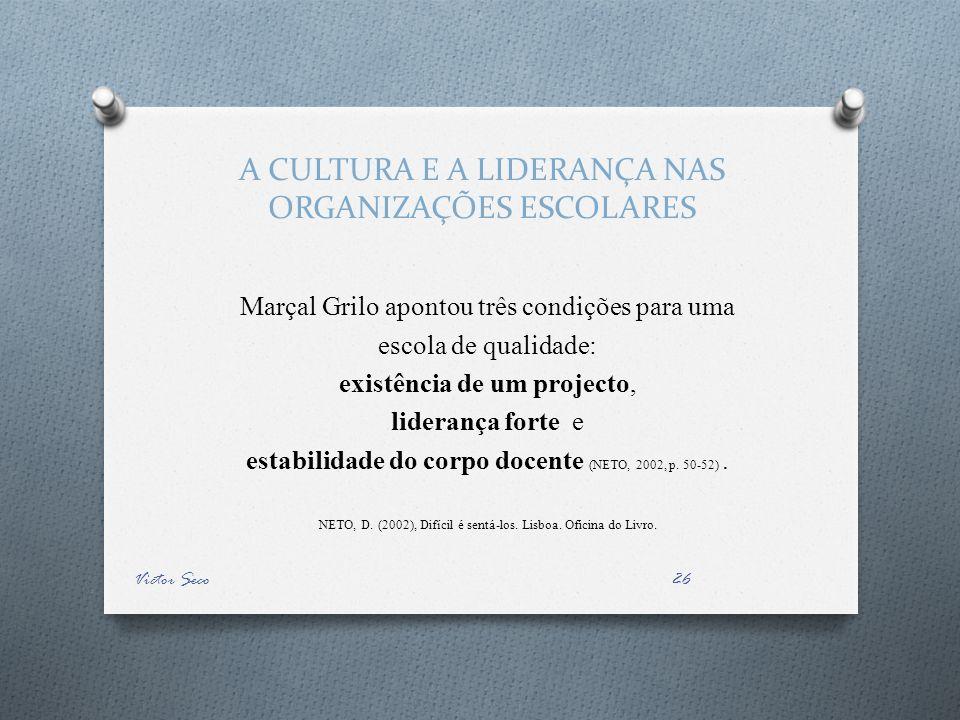 A CULTURA E A LIDERANÇA NAS ORGANIZAÇÕES ESCOLARES Marçal Grilo apontou três condições para uma escola de qualidade: existência de um projecto, liderança forte e estabilidade do corpo docente (NETO, 2002, p.