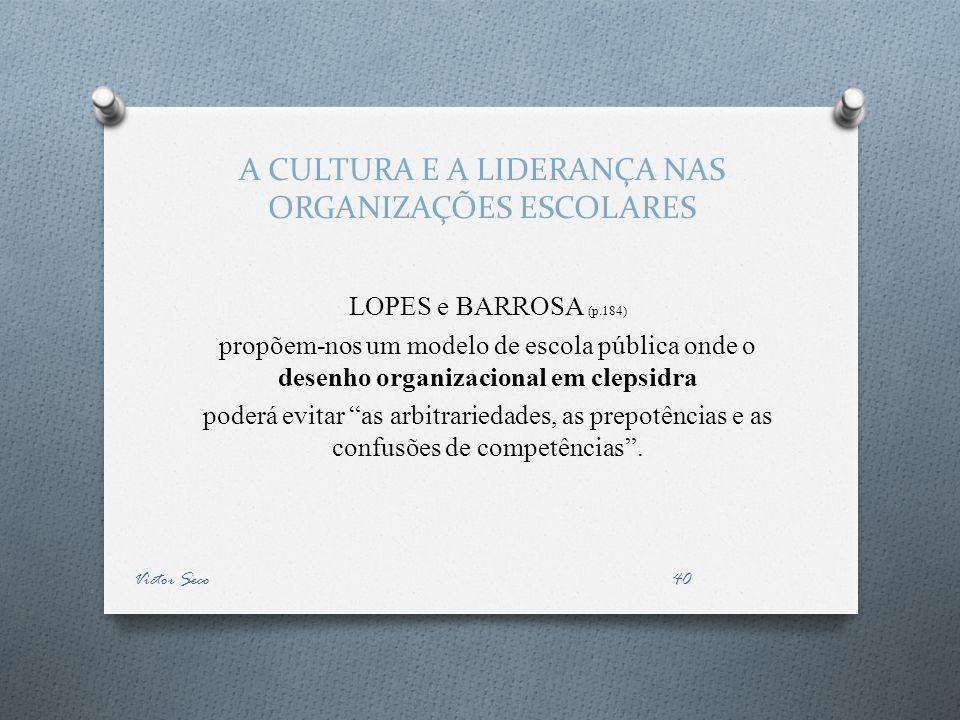 A CULTURA E A LIDERANÇA NAS ORGANIZAÇÕES ESCOLARES LOPES e BARROSA (p.184) propõem-nos um modelo de escola pública onde o desenho organizacional em cl