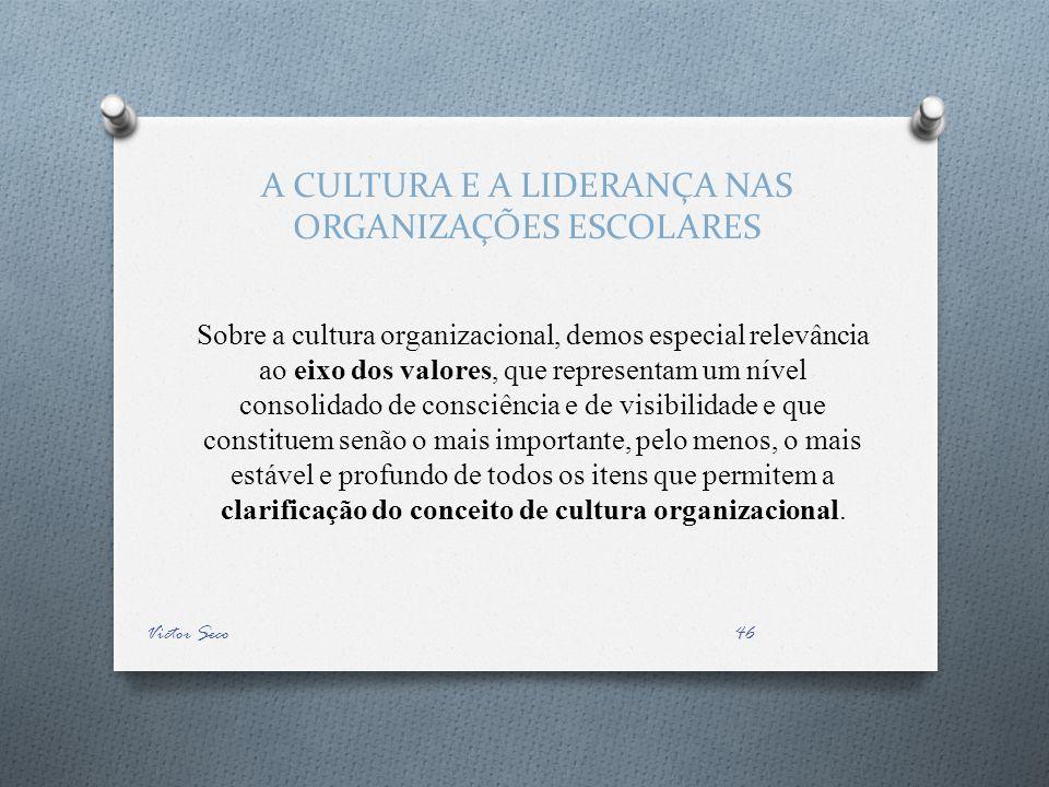 A CULTURA E A LIDERANÇA NAS ORGANIZAÇÕES ESCOLARES Sobre a cultura organizacional, demos especial relevância ao eixo dos valores, que representam um n