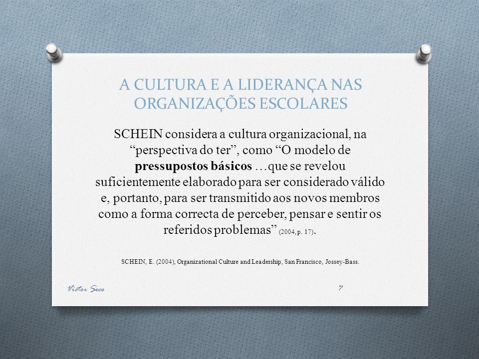 A CULTURA E A LIDERANÇA NAS ORGANIZAÇÕES ESCOLARES SCHEIN considera a cultura organizacional, na perspectiva do ter, como O modelo de pressupostos bás