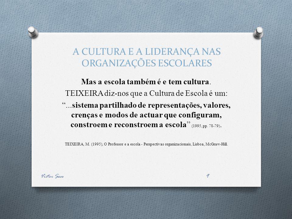 A CULTURA E A LIDERANÇA NAS ORGANIZAÇÕES ESCOLARES Mas a escola também é e tem cultura. TEIXEIRA diz-nos que a Cultura de Escola é um:...sistema parti