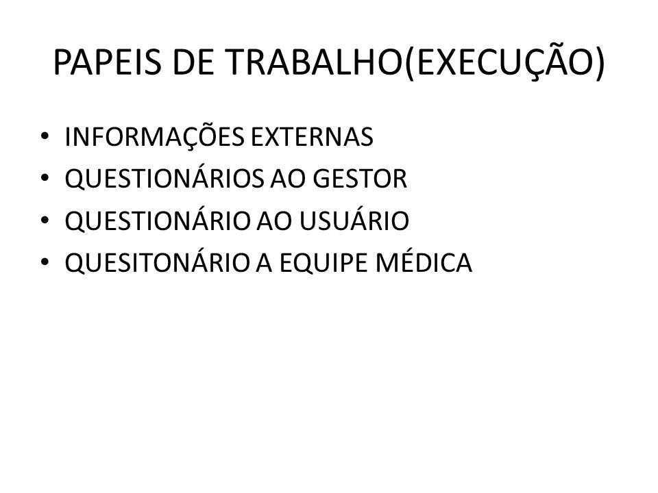 PAPEIS DE TRABALHO(EXECUÇÃO) INFORMAÇÕES EXTERNAS QUESTIONÁRIOS AO GESTOR QUESTIONÁRIO AO USUÁRIO QUESITONÁRIO A EQUIPE MÉDICA