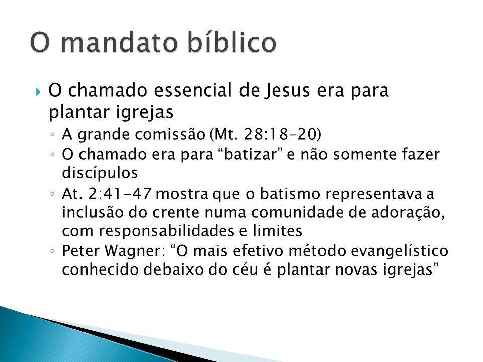 O chamado essencial de Jesus era para plantar igrejas A grande comissão (Mt. 28:18-20) O chamado era para batizar e não somente fazer discípulos At. 2