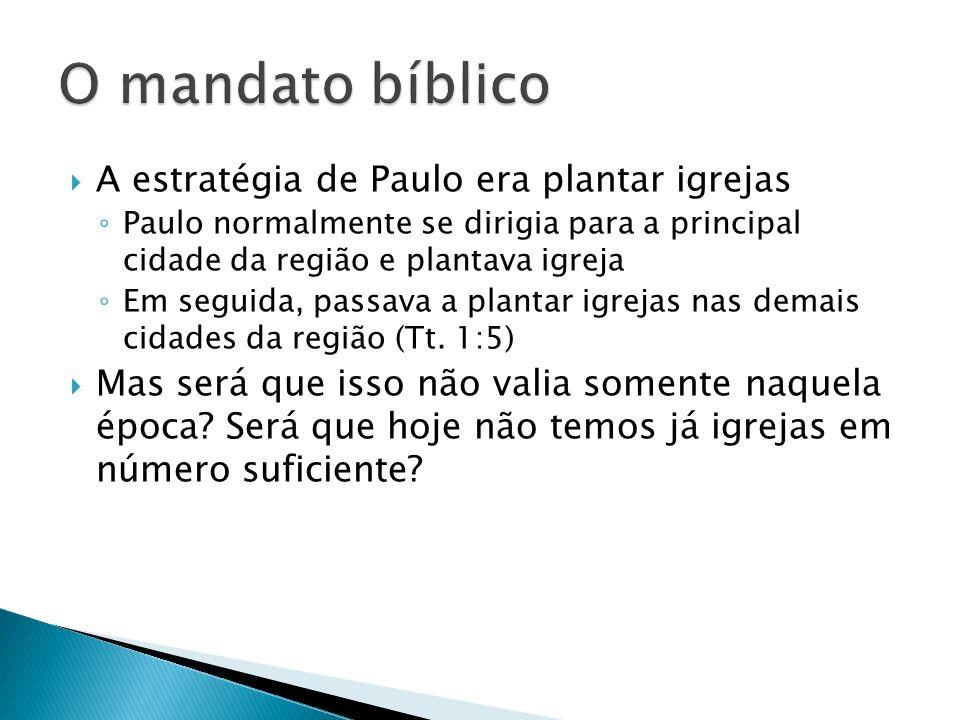 A estratégia de Paulo era plantar igrejas Paulo normalmente se dirigia para a principal cidade da região e plantava igreja Em seguida, passava a plant