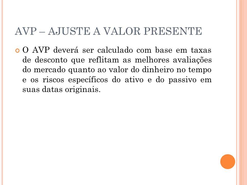 AVP – AJUSTE A VALOR PRESENTE O AVP deverá ser calculado com base em taxas de desconto que reflitam as melhores avaliações do mercado quanto ao valor