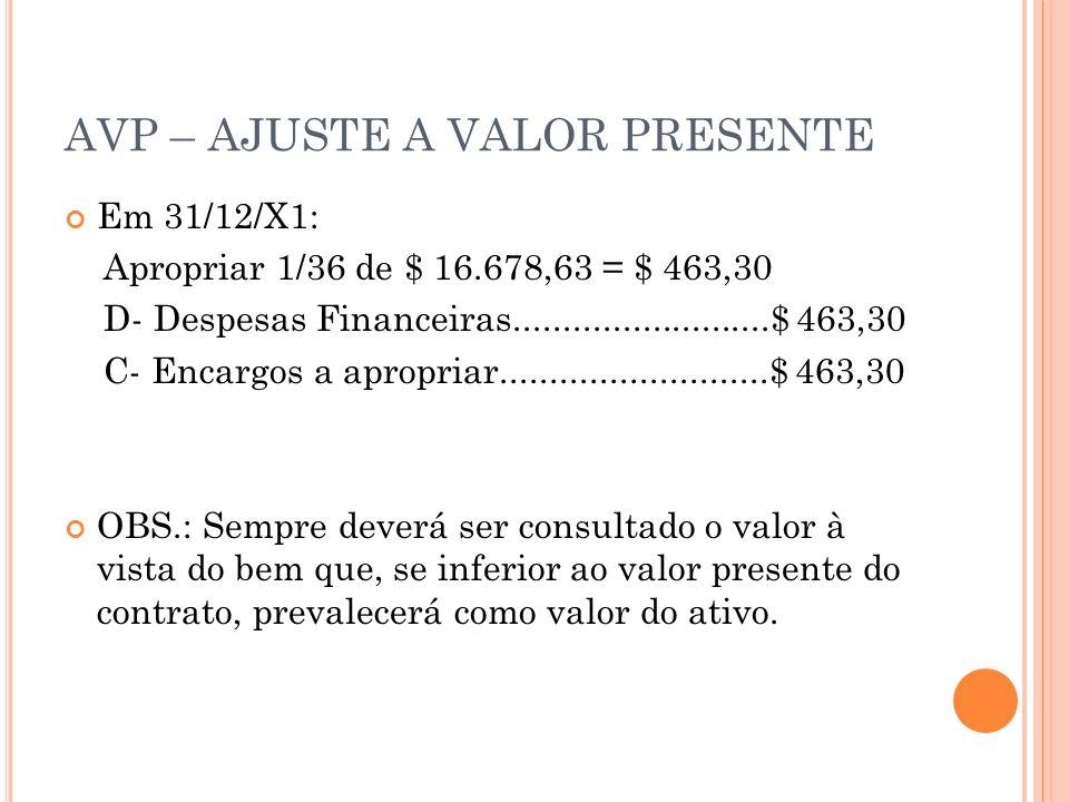 AVP – AJUSTE A VALOR PRESENTE Em 31/12/X1: Apropriar 1/36 de $ 16.678,63 = $ 463,30 D- Despesas Financeiras..........................$ 463,30 C- Encar