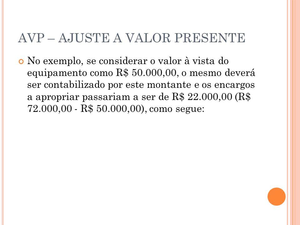 AVP – AJUSTE A VALOR PRESENTE No exemplo, se considerar o valor à vista do equipamento como R$ 50.000,00, o mesmo deverá ser contabilizado por este mo