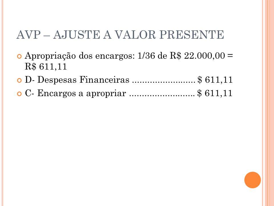 AVP – AJUSTE A VALOR PRESENTE Apropriação dos encargos: 1/36 de R$ 22.000,00 = R$ 611,11 D- Despesas Financeiras......................... $ 611,11 C-