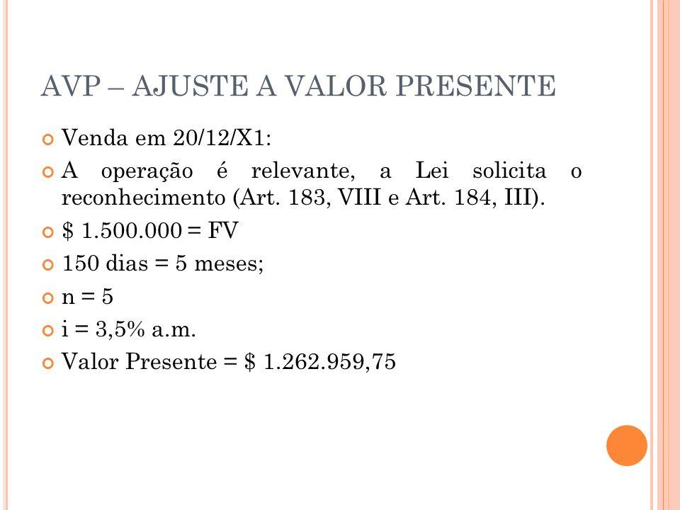 AVP – AJUSTE A VALOR PRESENTE Venda em 20/12/X1: A operação é relevante, a Lei solicita o reconhecimento (Art. 183, VIII e Art. 184, III). $ 1.500.000