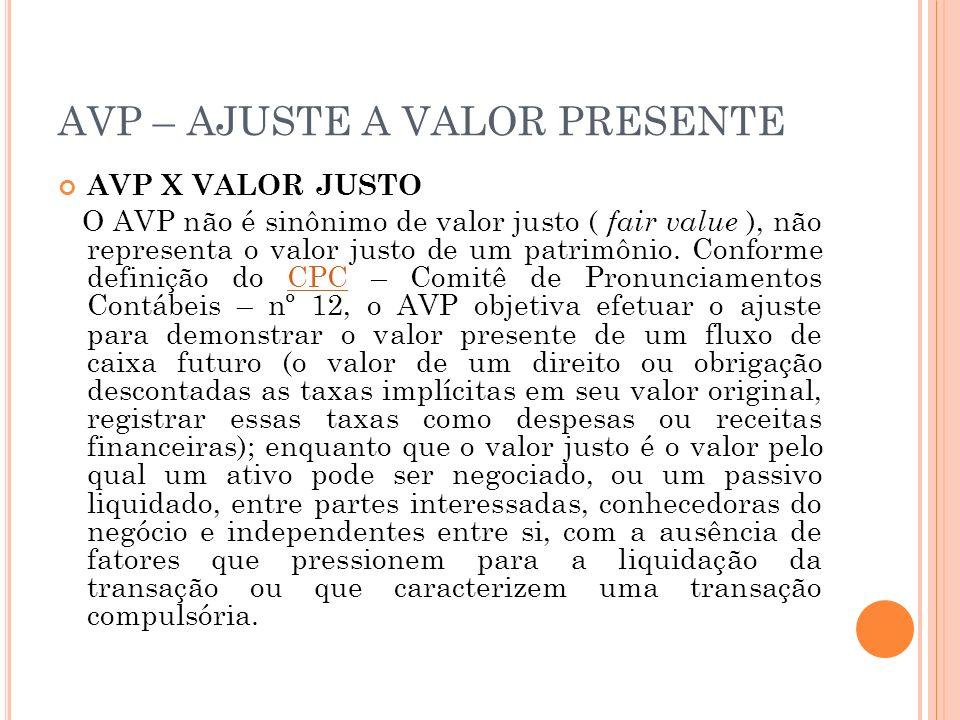 AVP – AJUSTE A VALOR PRESENTE AVP X VALOR JUSTO O AVP não é sinônimo de valor justo ( fair value ), não representa o valor justo de um patrimônio. Con