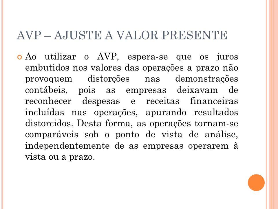 AVP – AJUSTE A VALOR PRESENTE Ao utilizar o AVP, espera-se que os juros embutidos nos valores das operações a prazo não provoquem distorções nas demon