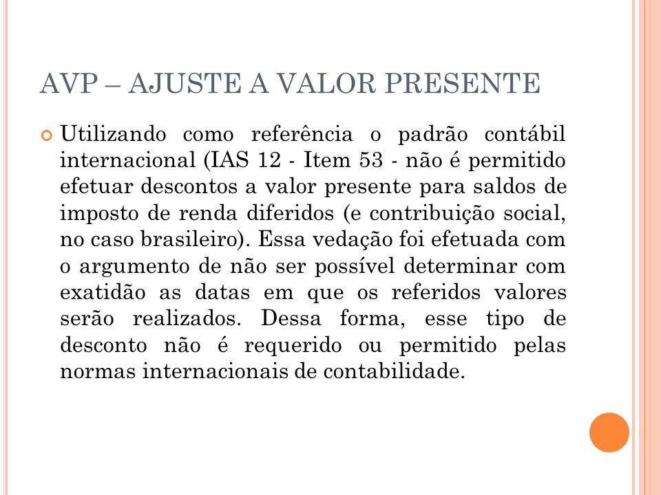 AVP – AJUSTE A VALOR PRESENTE Utilizando como referência o padrão contábil internacional (IAS 12 - Item 53 - não é permitido efetuar descontos a valor