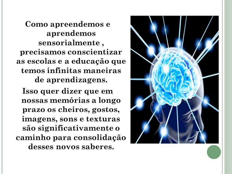 Como apreendemos e aprendemos sensorialmente, precisamos conscientizar as escolas e a educação que temos infinitas maneiras de aprendizagens. Isso que