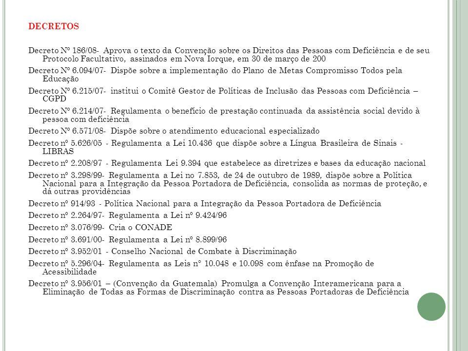 DECRETOS Decreto Nº 186/08- Aprova o texto da Convenção sobre os Direitos das Pessoas com Deficiência e de seu Protocolo Facultativo, assinados em Nov