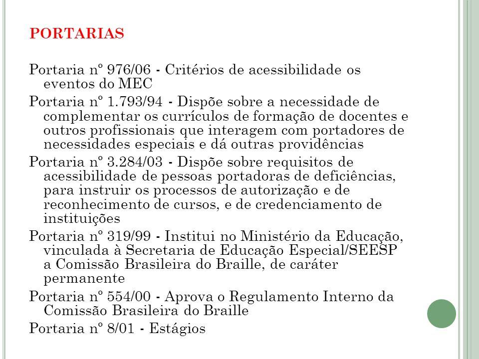 PORTARIAS Portaria nº 976/06 - Critérios de acessibilidade os eventos do MEC Portaria nº 1.793/94 - Dispõe sobre a necessidade de complementar os curr