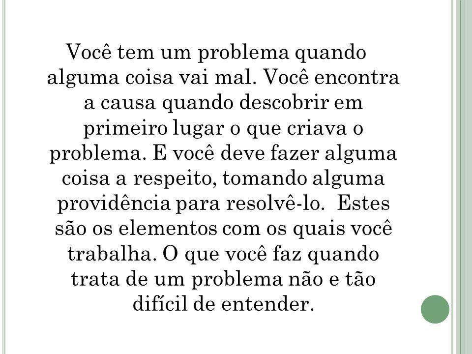 Você tem um problema quando alguma coisa vai mal. Você encontra a causa quando descobrir em primeiro lugar o que criava o problema. E você deve fazer