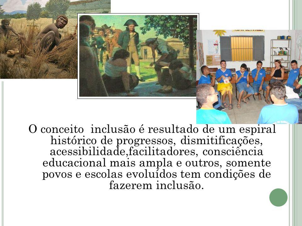 O conceito inclusão é resultado de um espiral histórico de progressos, dismitificações, acessibilidade,facilitadores, consciência educacional mais amp