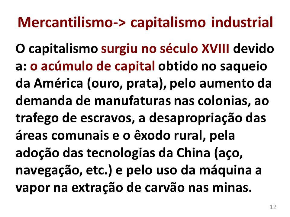 Mercantilismo-> capitalismo industrial O capitalismo surgiu no século XVIII devido a: o acúmulo de capital obtido no saqueio da América (ouro, prata),