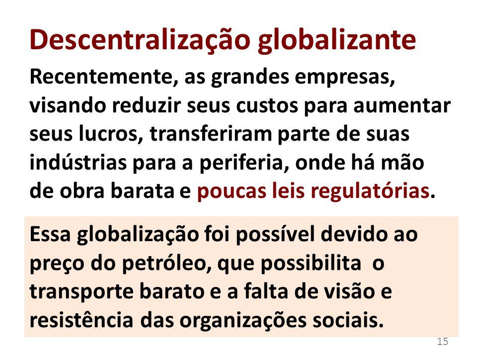 Descentralização globalizante Recentemente, as grandes empresas, visando reduzir seus custos para aumentar seus lucros, transferiram parte de suas ind
