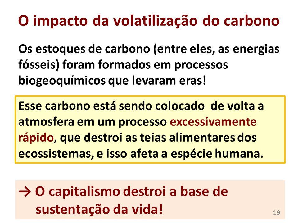 O impacto da volatilização do carbono Os estoques de carbono (entre eles, as energias fósseis) foram formados em processos biogeoquímicos que levaram