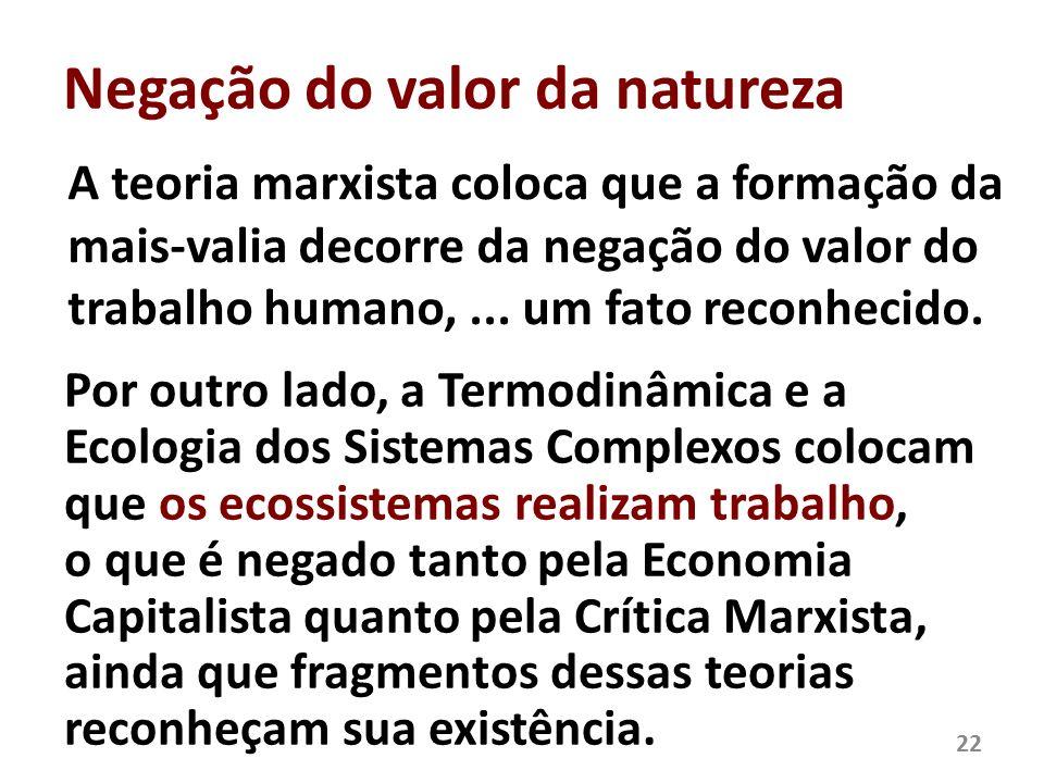 Negação do valor da natureza A teoria marxista coloca que a formação da mais-valia decorre da negação do valor do trabalho humano,... um fato reconhec