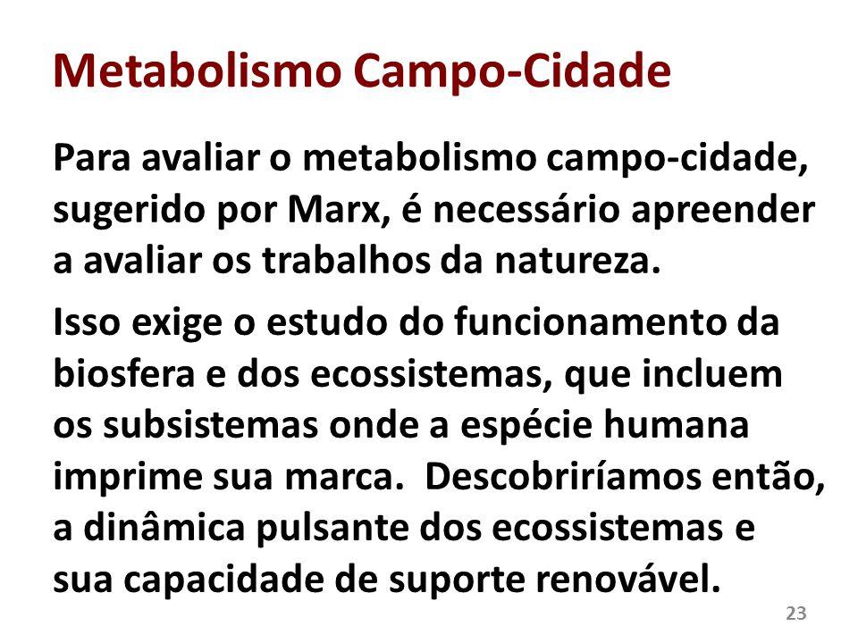Metabolismo Campo-Cidade Para avaliar o metabolismo campo-cidade, sugerido por Marx, é necessário apreender a avaliar os trabalhos da natureza. Isso e