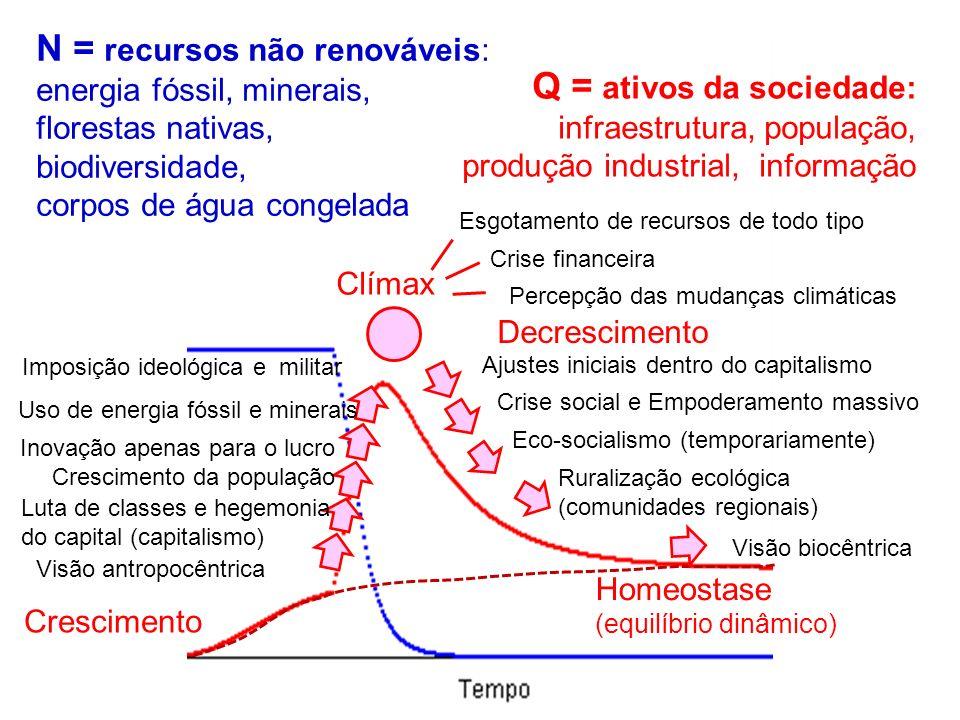 N = recursos não renováveis: energia fóssil, minerais, florestas nativas, biodiversidade, corpos de água congelada Q = ativos da sociedade: infraestru