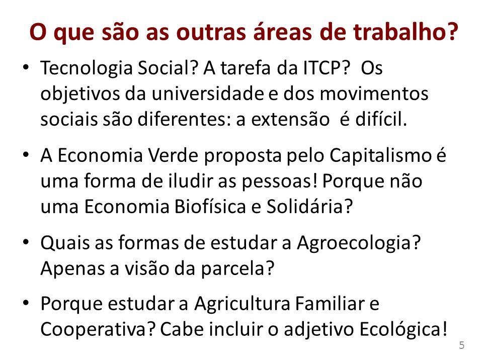 O que são as outras áreas de trabalho? Tecnologia Social? A tarefa da ITCP? Os objetivos da universidade e dos movimentos sociais são diferentes: a ex
