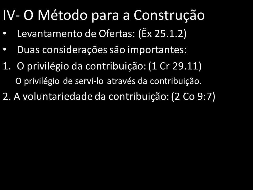 IV- O Método para a Construção Levantamento de Ofertas: (Êx 25.1.2) Duas considerações são importantes: 1.O privilégio da contribuição: (1 Cr 29.11) O