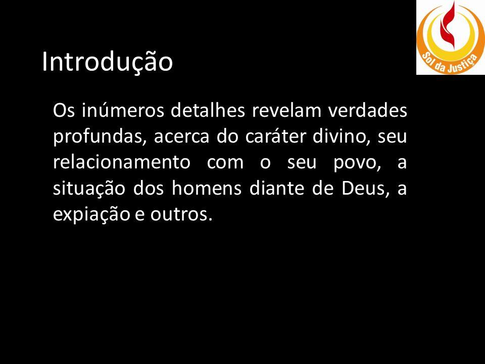 Introdução Os inúmeros detalhes revelam verdades profundas, acerca do caráter divino, seu relacionamento com o seu povo, a situação dos homens diante