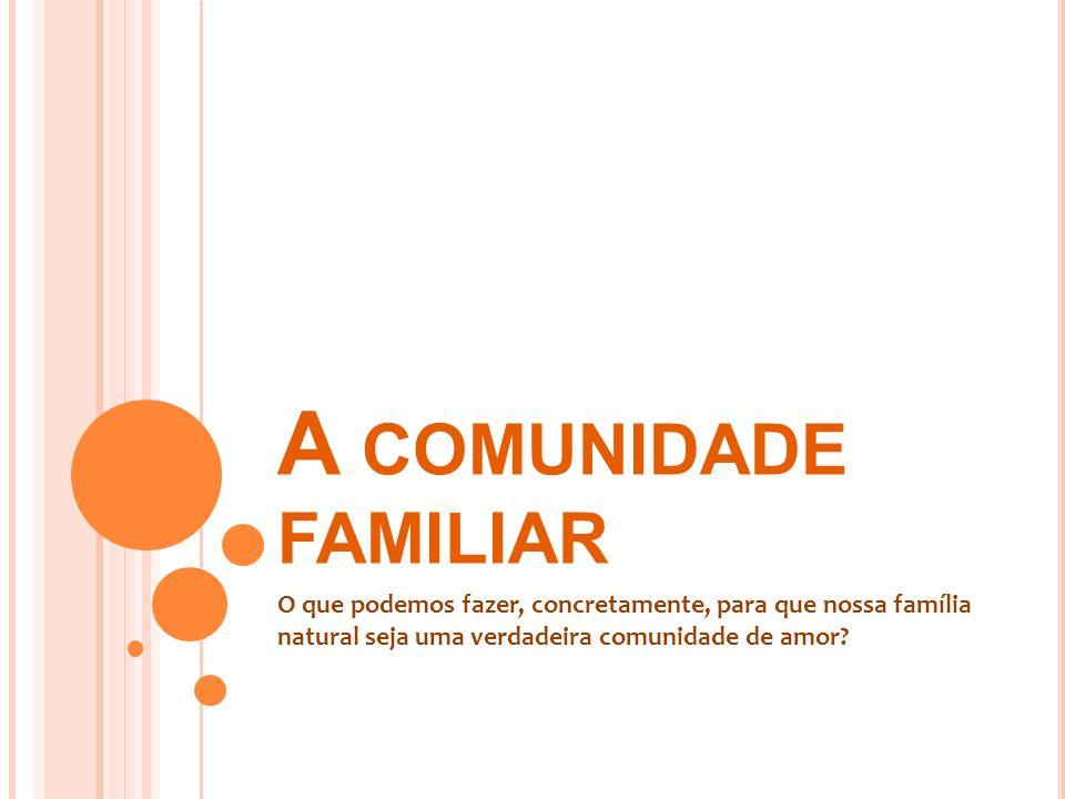 A COMUNIDADE FAMILIAR O que podemos fazer, concretamente, para que nossa família natural seja uma verdadeira comunidade de amor?
