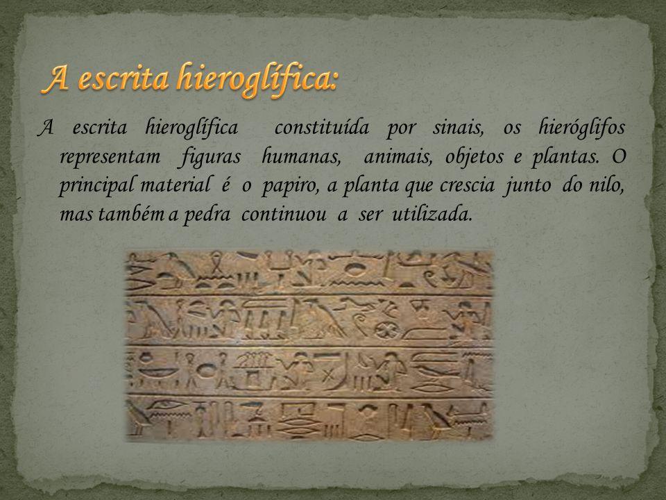 A escrita hieroglífica constituída por sinais, os hieróglifos representam figuras humanas, animais, objetos e plantas. O principal material é o papiro