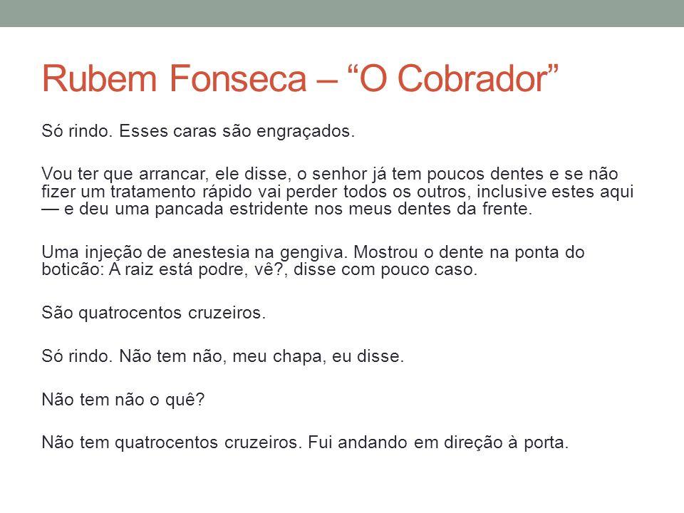 Rubem Fonseca – O Cobrador Ele bloqueou a porta com o corpo.
