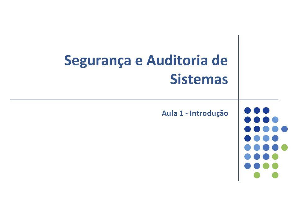 Segurança e Auditoria de Sistemas Aula 1 - Introdução