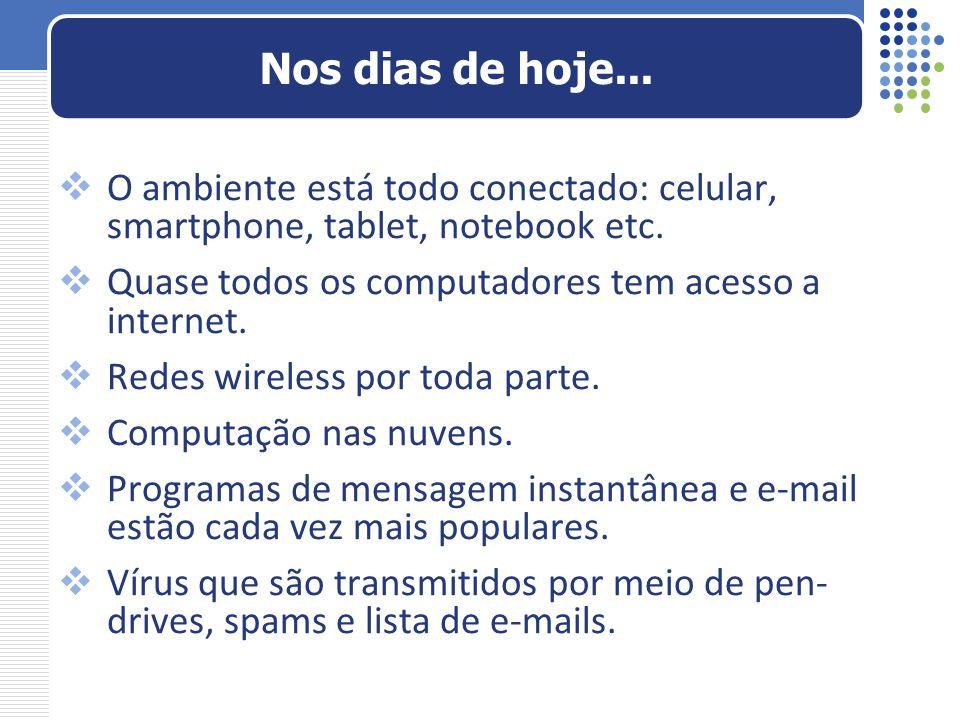 O ambiente está todo conectado: celular, smartphone, tablet, notebook etc. Quase todos os computadores tem acesso a internet. Redes wireless por toda