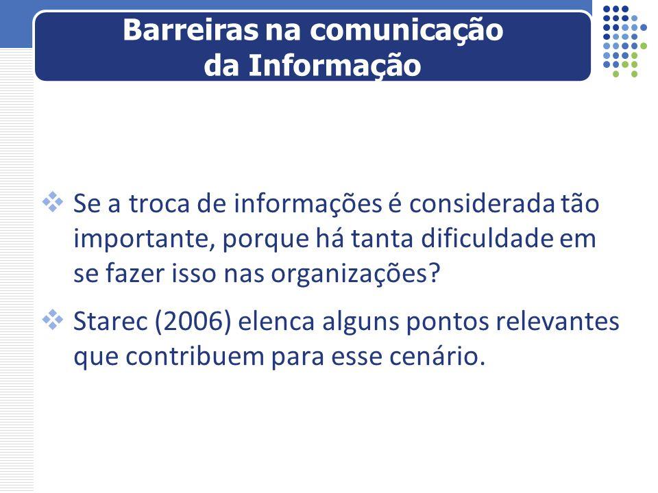 Se a troca de informações é considerada tão importante, porque há tanta dificuldade em se fazer isso nas organizações? Starec (2006) elenca alguns pon