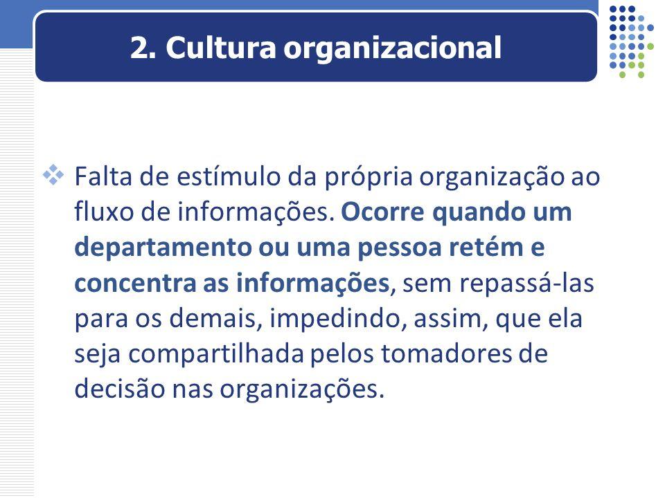 Falta de estímulo da própria organização ao fluxo de informações. Ocorre quando um departamento ou uma pessoa retém e concentra as informações, sem re