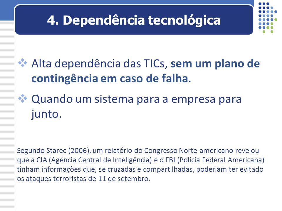 Alta dependência das TICs, sem um plano de contingência em caso de falha. Quando um sistema para a empresa para junto. Segundo Starec (2006), um relat