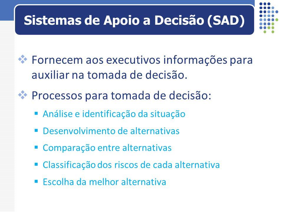 Fornecem aos executivos informações para auxiliar na tomada de decisão. Processos para tomada de decisão: Análise e identificação da situação Desenvol