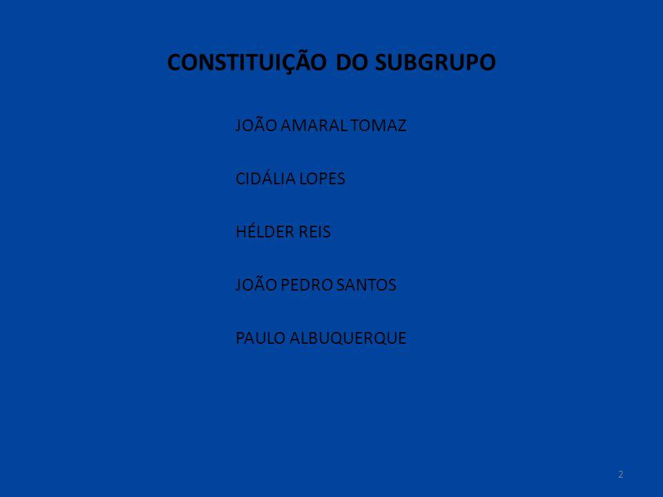 CONSTITUIÇÃO DO SUBGRUPO JOÃO AMARAL TOMAZ CIDÁLIA LOPES HÉLDER REIS JOÃO PEDRO SANTOS PAULO ALBUQUERQUE 2