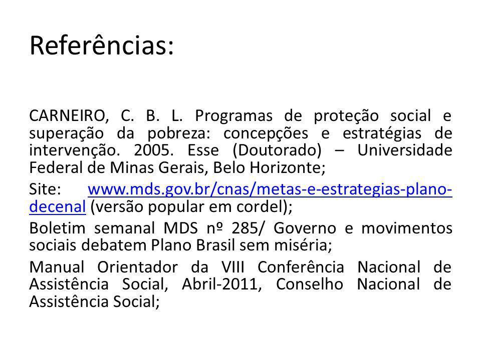 Referências: CARNEIRO, C. B. L. Programas de proteção social e superação da pobreza: concepções e estratégias de intervenção. 2005. Esse (Doutorado) –