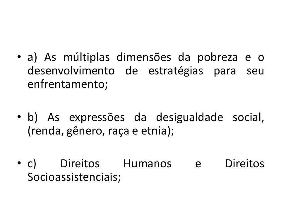 a) As múltiplas dimensões da pobreza e o desenvolvimento de estratégias para seu enfrentamento; b) As expressões da desigualdade social, (renda, gêner