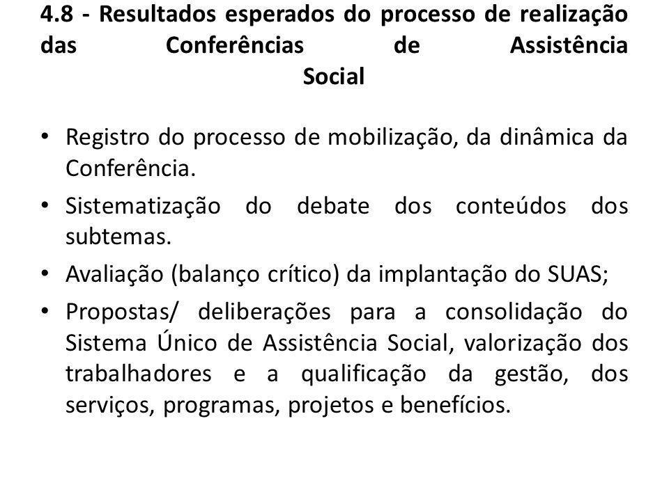 4.8 - Resultados esperados do processo de realização das Conferências de Assistência Social Registro do processo de mobilização, da dinâmica da Confer