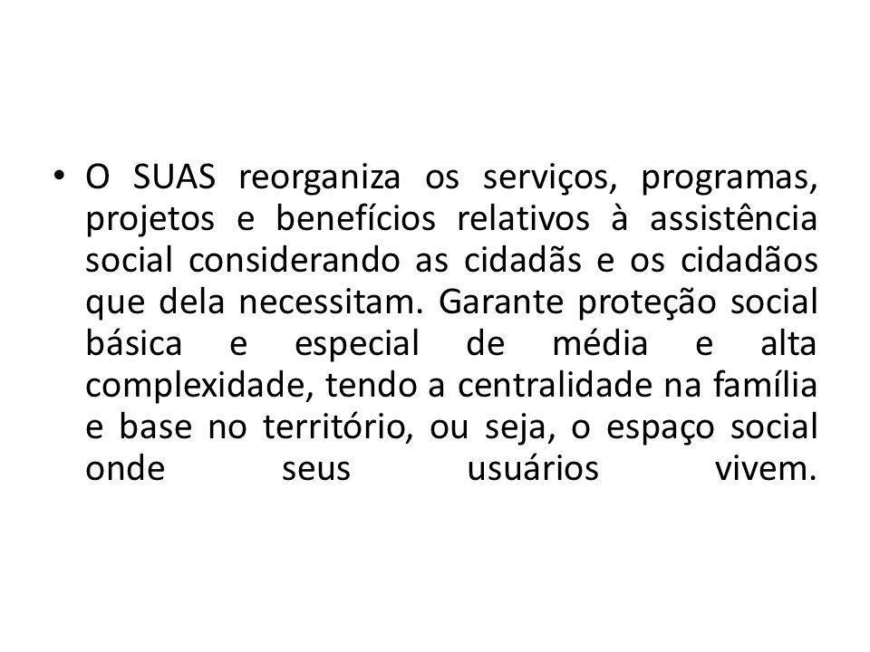 O SUAS reorganiza os serviços, programas, projetos e benefícios relativos à assistência social considerando as cidadãs e os cidadãos que dela necessit