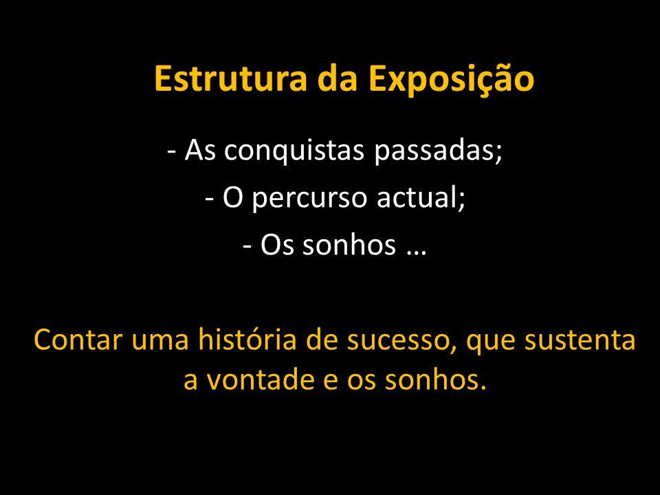 Estrutura da Exposição - As conquistas passadas; - O percurso actual; - Os sonhos … Contar uma história de sucesso, que sustenta a vontade e os sonhos